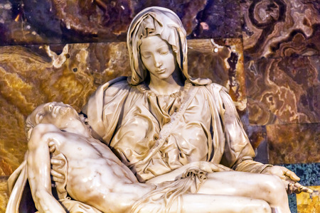 Michaelangelo Pieta Mary Madonna Jesus Sculpture Close Up Vatican Rome Italy