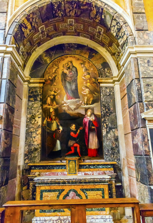 iv: Madonna Mary Altar Santa Maria Della Pace Church Basilica Rome Italy.  Church built in 1400 and 1500s by Pope Sixtus IV on the spot where a painted Madonna was pierced and blood came out.
