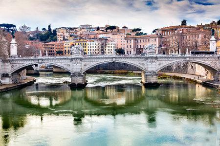 Tiber River Ponte Bridge Vittorio Emanuele III Rome Italy. Bridge built in 1886 near Vatican.