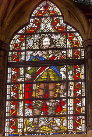 craftmanship: King Charles 1 Stained Glass 13th Century Chapter House Westminster Abbey Church London England.  Westminister Abbey has been the burial place of Britains monarchs since the 11th century and is the setting for many coronations and weddings.