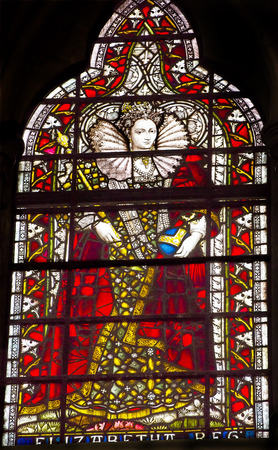 craftmanship: Queen Elizabeth 1 Stained Glass 13th Century Chapter House Westminster Abbey Church London England.  Westminister Abbey has been the burial place of Britains monarchs, including Elizabeth 1, since the 11th century and is the setting for many coronations  Editorial