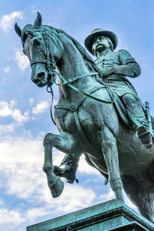 General John Logan Memorial Civil War Statue Logan Circle Washington DC.  Statue dedicated in 1901, Sculptors Franklin Simmons and Richard Hunt.  Logan was close to US Grant, promoted to Brigadier General at Fort Donelson, won the Congressional Medal of H Editorial