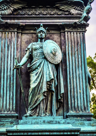 Knight General John Logan Memorial Civil War Statue Logan Circle Washington DC.  Statue dedicated in 1901, Sculptors Franklin Simmons and Richard Hunt.  Logan was close to US Grant, promoted to Brigadier General at Fort Donelson, won the Congressional Med