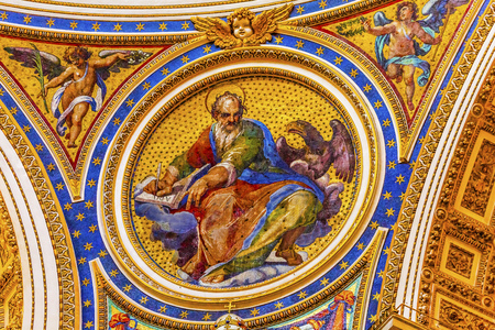 Saint Mark Eagle Gospel Writer Evangelist Mosaic Angels Saint Peter's Basilica Vatican Rome Italy.  Mosaic right below Michaelangelo's Dome, Created in 1600s over altar and St. Peter's tomb