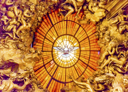 Throne Bernini Holy Spirit Dove Saint Peter's Basilica Vatican Rome Italy.  Bernini created Saint Peter's Throne with Holy Spirti Dove Stained Glass Amber in 1600s