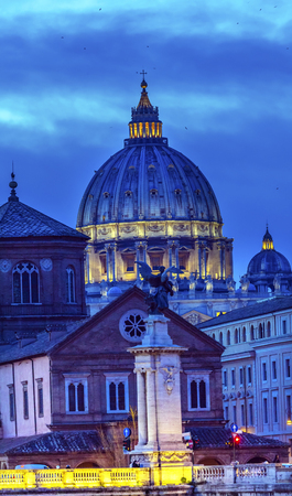 Vatican Dome Buildings Night Rome Italy