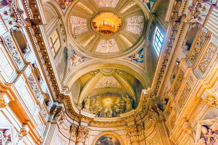 Ceiling Frescos Lamb SS Vincenzo E Anastasio Church Basilica Dome Trevi Rome Italy.  Vincenzo Anastasio Church is Baroque Church built in the 1600s next to Trevi fountain.