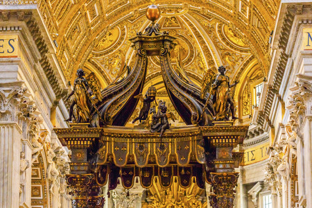Saint Peters Basilica Bernini Baldacchino Holy Spirit Dove Vatican Rome Italy.  Baldacchino Canopy built in 1600s over altar and St. Peters tomb