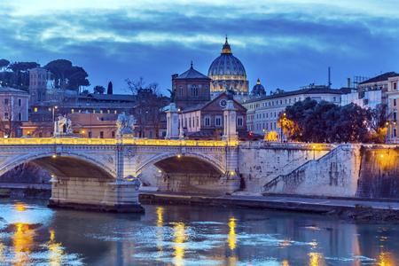 Vatican Dome Tiber River Ponte Bridge Vittorio Emanuele III Rome Italy. Bridge built in 1886 near Vatican. Stock Photo
