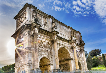 Arch of Constantine Rome Italy Arch built in 315 AD to celebrate Emperor Constantines victory in 312 over co-emperor Maxenntius.  Constantine attributed victory to vision of Jesus Christ, made Christianity legal Stock Photo