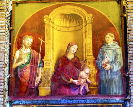 clemency: Madonna of Clemency 15th Century Painting Pantheon Rome Italy Rebuilt by Hadrian in the Second Century Became oldest church in 609 AD Mary Baby Jesus Between John the Baptist and St Francis Stock Photo