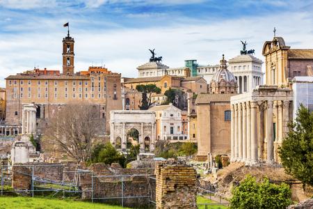 severus: Roman Forum Septemus Severus Arch Capatoline Hill ColumnsRome Italy.  Forum rebuilt by Julius Ceasar in 46 BC