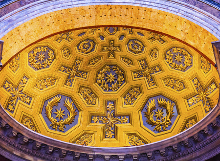 rebuilt: Yellow Blue Decorations Pantheon Rome Italy Rebuilt by Hadrian in 118 to 125 AD the Second Century Became oldest Roman church in 609 AD. Editorial
