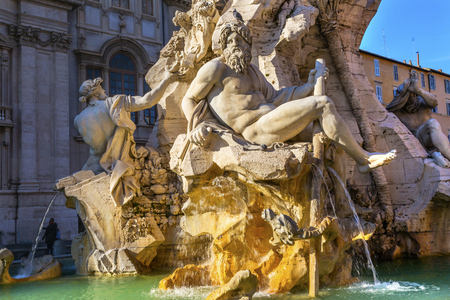 Bernini Fontana Quattro dei Fiumi Fountain of Four Rivers Ganges, Danube, Nile and Plate Piazza Navona Rome Italy.  Piazza site of Roman racetrack created in 1600s.  Bernini created fountain in 1651. Stock fotó