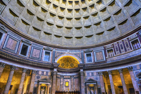 rebuilt: Dome Pillars Altar Pantheon Rome Italy Rebuilt by Hadrian in 118 to 125 ADthe Second Century Became oldest Roman church in 609 AD.  Oculus, hole, provides only light. Editorial