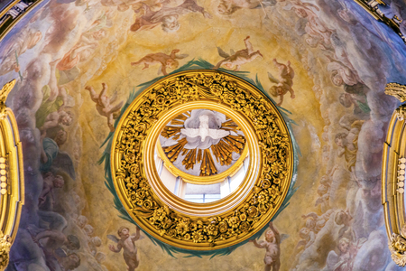Holy Spirit Fresco Ceiling Dome Santa Maria Maddalena Church Rome Italy.  Church named for Saint Mary Magdalene, built in the 16 and 1700s, fresco by Carlos Fontana in 1700s