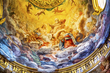 Jesus God Father Fresco Ceiling Dome Santa Maria Maddalena Church Rome Italy.  Church named for Saint Mary Magdalene, built in the 16 and 1700s, fresco by Carlos Fontana in 1700s Editorial