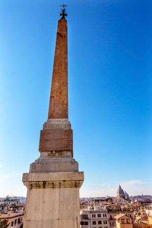 Egyptian Hieroglyphs Obelisk Sallustiano Trinita Dei Monti Church Spanish Steps Rome Italy. Obelisk originally from Egypt decorated Roman Imperial Garden. Erected front of church in 1789. Editorial