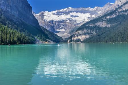 Lake Louise Canoes Leroy Glaciers Reflection Snow Mountains Banff National Park Alberta Canada Stock Photo