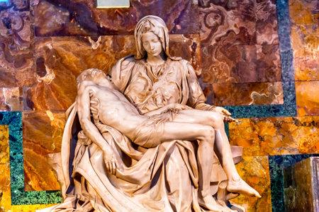 Michaelangelo Pieta Mary Madonna Jesus Sculpture Cross Saint Peters Basilica Vatican Rome Italy