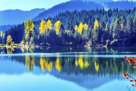 Blue Water Yellow Trees Reflection Island Gold Lake Autumn Fall Snoqualme Pass Wenatchee National Forest Wilderness Washington