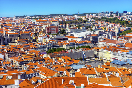 Orange Roofs Cathedral Lisbon Portugal. View from Caselo de San Jorge from Observation Platform.   Editorial