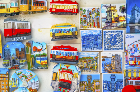 Colorful Ceramic Tiles Magnets Souvenirs Handicrafts Lisbon Portugal. Portugal has many ceramic tiles on sidewalks and other areas/ 스톡 콘텐츠