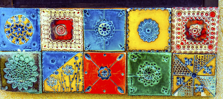 Colorful Ceramic Tiles Souvenirs Handicrafts Lisbon Portugal.  Portugal has many cermic tiles on sidewalks and other areas/