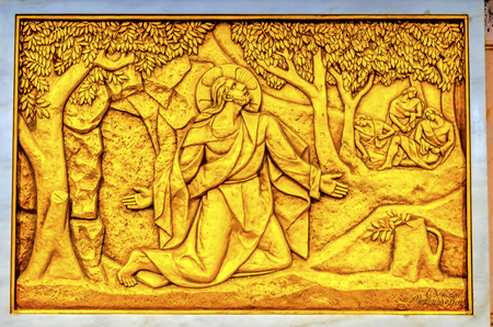 Christ Garden Gethsemane Stations of the Cross Basilica of Lady of Rosary Fatima Portugal. Church created on site where three Portuguese Shepherd children saw Virgin Mary of the Rosary.  Basilica created in 1953.