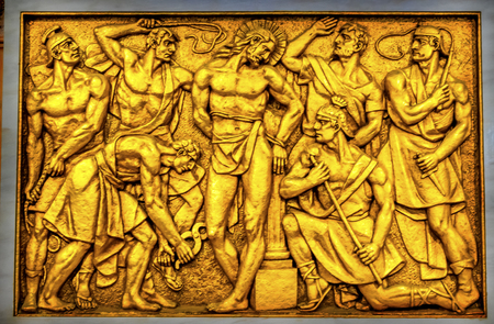 Jeus Christ Flagellation Whipping Stations of the Cross Basilica of Lady of Rosary Fatima Portugal. Church created on site where three Portuguese Shepherd children saw Virgin Mary of the Rosary.  Basilica created in 1953.
