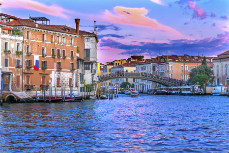 Colorful Ponte Academia Bridge Sunset Ferry Docks Touirists Grand Canal Venice Italy Stock Photo