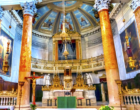 San Silvestro Church Altar Basilica Venice Italy. Founded in the 800s, the Church was reconsecrated in 1850. Editoriali