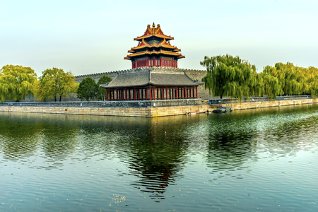 Arrow Watch Tower Gugong Forbidden City  Moat Canal Plaace Wall Beijing China. Emperors Palace Built in the 1600s in the Ming Dynasty   Editorial