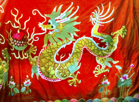 Blue Red Yellow Chinese Dragon Replica Silks Panjuan Flea Market  Decorations Beijing China.  Panjuan Flea Curio market has many fakes, replicas and copies of older Chinese products, many ancient.