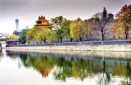 Arrow Watch Tower Gugong Forbidden City  Moat Canal Plaace Wall Beijing China. Emperors Palace Built in the 1600s in the Ming Dynasty Stock Photo