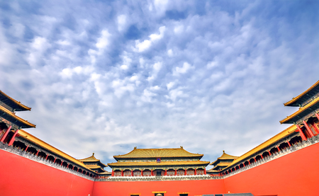 Meridian Gate Gugong Forbidden City Palace Wall Beijing China. Emperors Palace Built in the 1600s in the Ming Dynasty
