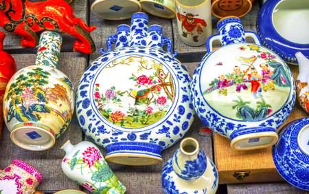 Old Chinese Design Vases Panjuan Flea Market  Beijing China. Panjuan Flea Curio market has many fakes, replicas and copies of older Chinese products, many ancient.