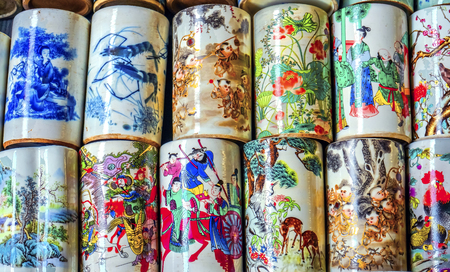 Old Chinese Design Multicolored Cups Panjuan Flea Market  Beijing China. Panjuan Flea Curio market has many fakes, replicas and copies of older Chinese products, many ancient.