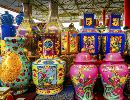 Old Chinese Design Large Colrful Ceramic Vases Pots  Panjuan Flea Market  Beijing China. Panjuan Flea Curio market has many fakes, replicas and copies of older Chinese products, many
