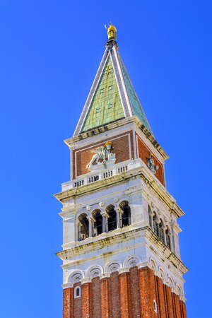 Campanile Bell Tower Piazza San Marco Saint Marks Square Venice Italy.  First erected in 1173.  Galileo showed his telescope to Venetian ruler. Reconstructed in 1902. Reklamní fotografie