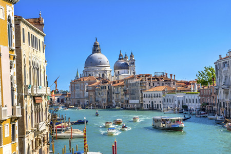 Grand Canal Santa Maria della Salute Church from Ponte Academia Bridge Gondolas Venice Italy 免版税图像