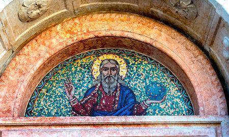 Jesus World Mosaic Santa Maria del Rosario Street Venice Italy.