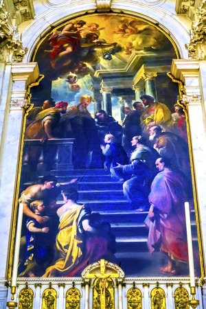 Presentation of Our Lady By Luca Giordano late 1600s Santa Maria della Salute Church Basilica Dome Venice Italy. Church competed in 1681 dedicated to our Lady of Health because of the 1630 outbreak of plague, which wiped out 13 of Venice population.