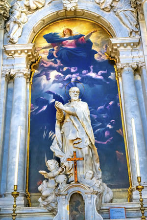 Assumption of Mary By Luca Giordano late 1600s Santa Maria della Salute Church Basilica Dome Venice Italy. Church competed in 1681. Statue of Girolamo Miani by Moriater, Early 1700s Editorial