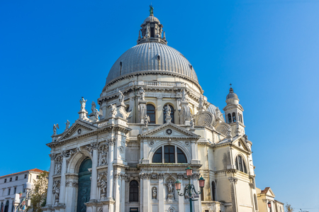 Santa Maria della Salute Church Basilica Dome Venice Italy. Competed in 1681 dedicated to our Lady of Health because of the 1630 outbreak of plague, which wiped out 13 of Venice population.