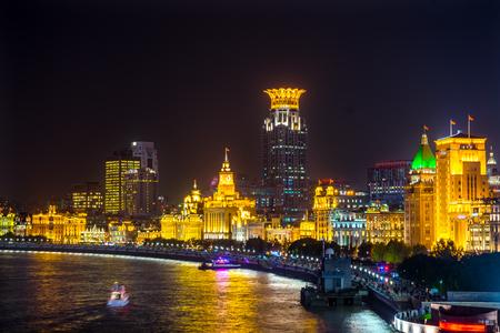 Bund Shanghai China Night Shot Een van de beroemdste plekken in Shanghai en China