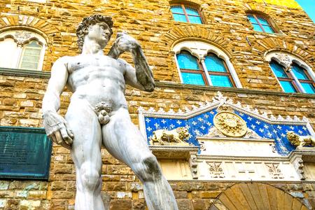 Michelangelo David Replica Statue Piazza Signoria Palazzo Vecchio Florence Tuscany Italy. Replica of Michelangelo's David statue in front of Palazzo Vecchio, Florence Town Hall