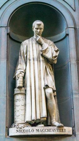 Nicolo Machiavelli Italian Political Strategist Statue Uffizi Gallery Florence Italy.  Statue by Lorenzo Bortolini in early 1800s.