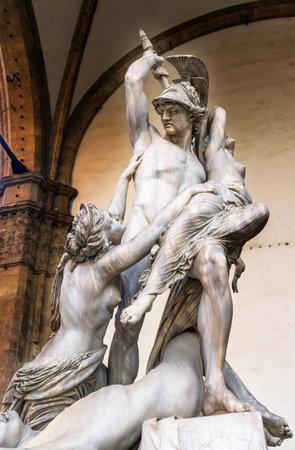 Rape of Polyxena Trojan War Statue Loggia dei Lanza Piazza della Signoria Florence Italy.  Polyxena Rape statue created 1866 by Pio Fedi, Italian Sculptor.