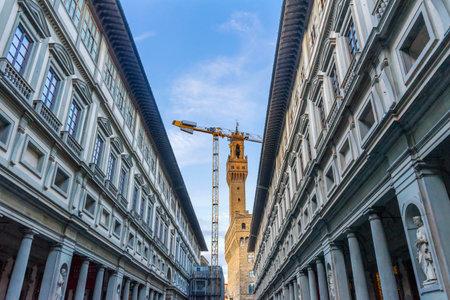 Palazzo Vecchio City Hall Street Uffizi Gallery Florence Italy.